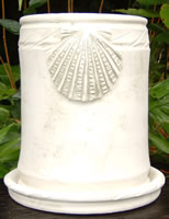 wine cooler in white clay with shell aplique